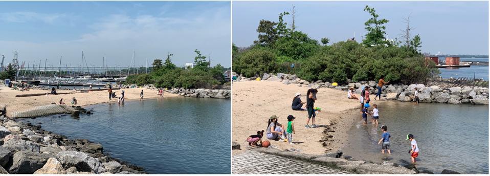 Children's beach and marina in background