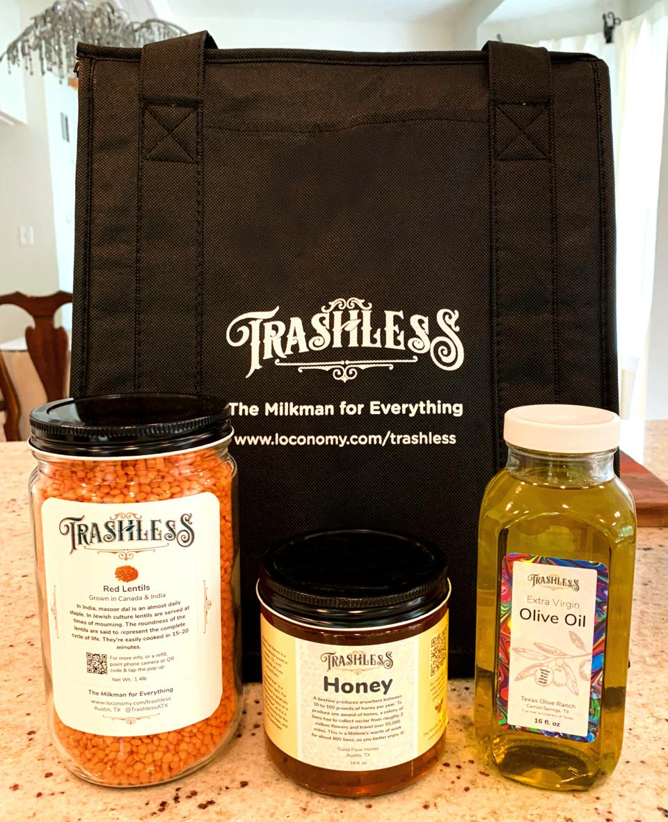 Trashless delivers staples like lentils, honey and oil.