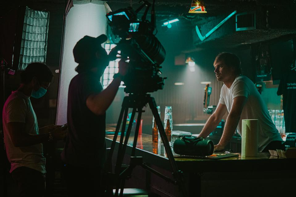 Matt Stell on set of ″If I Was A Bar″ socially distanced music video shoot during pandemic