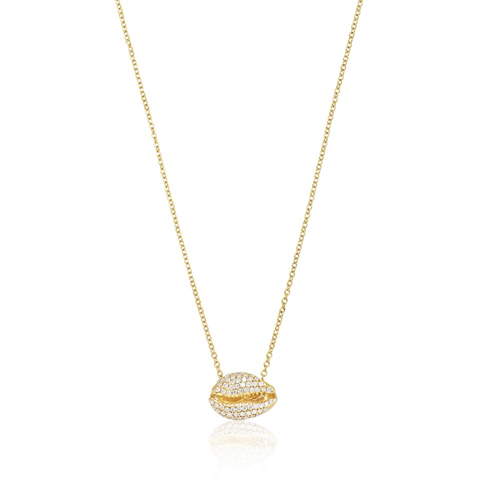 Gold and diamond cowrie shell pendant by Almasika.