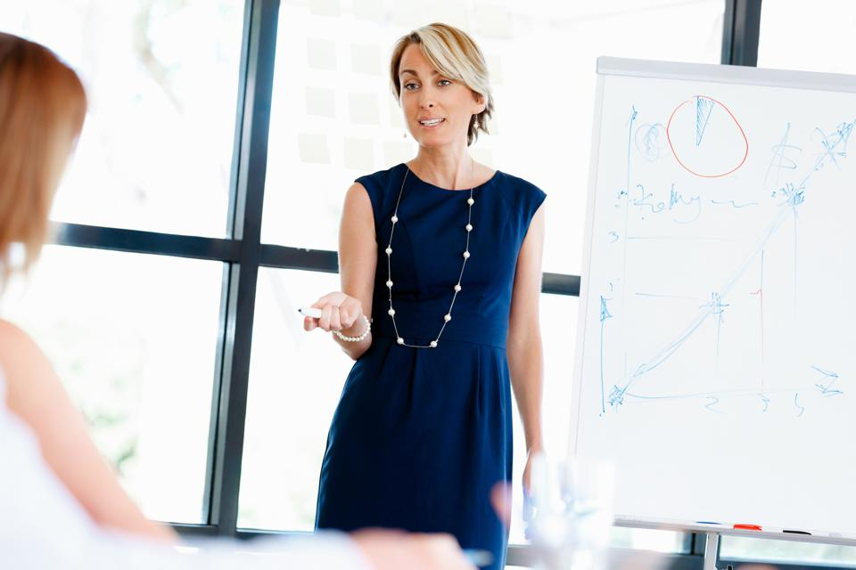 Woman in Blue Dress Giving Presentation In Front Of White Board.