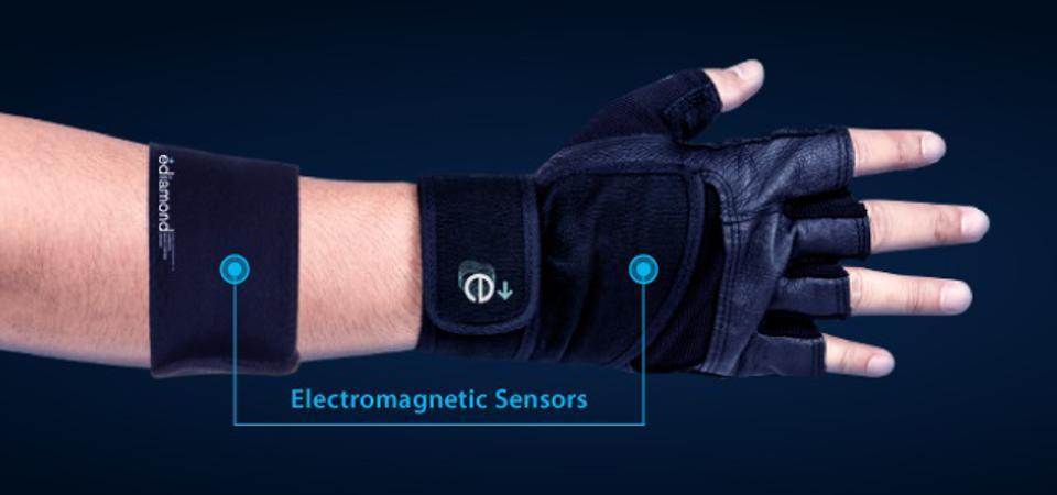 A wearable, needle-free glucose monitoring device in the shape of a glove and armband