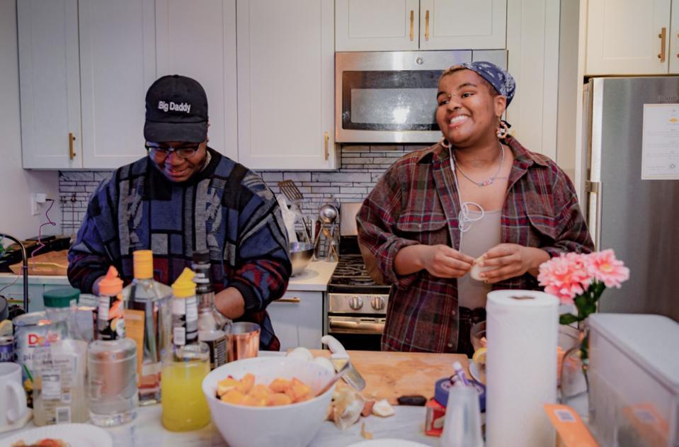 The Okra Project Bartender Jamari Thomas (he/him), The Okra Project Chef Clarke Johnson (they/them)