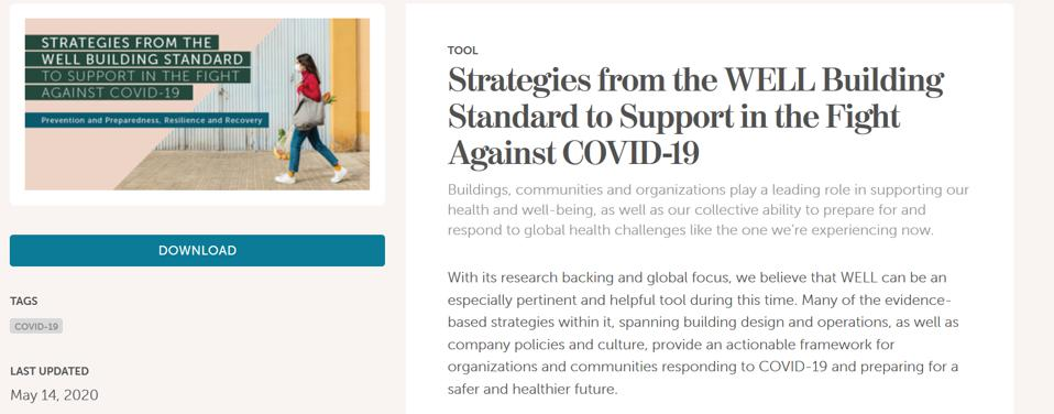 International Well-Building Institute, screen shot of COVID-19 standard