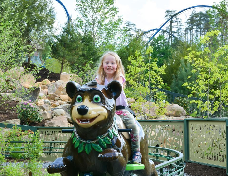 Little Girl on Black Bear Trail Ride t Dollywood