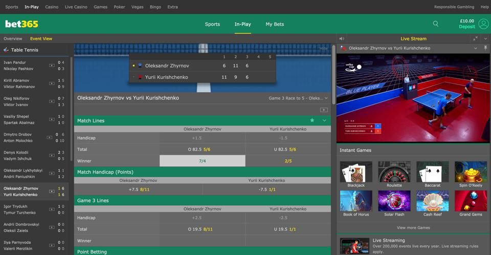 Table tennis markets on bet365