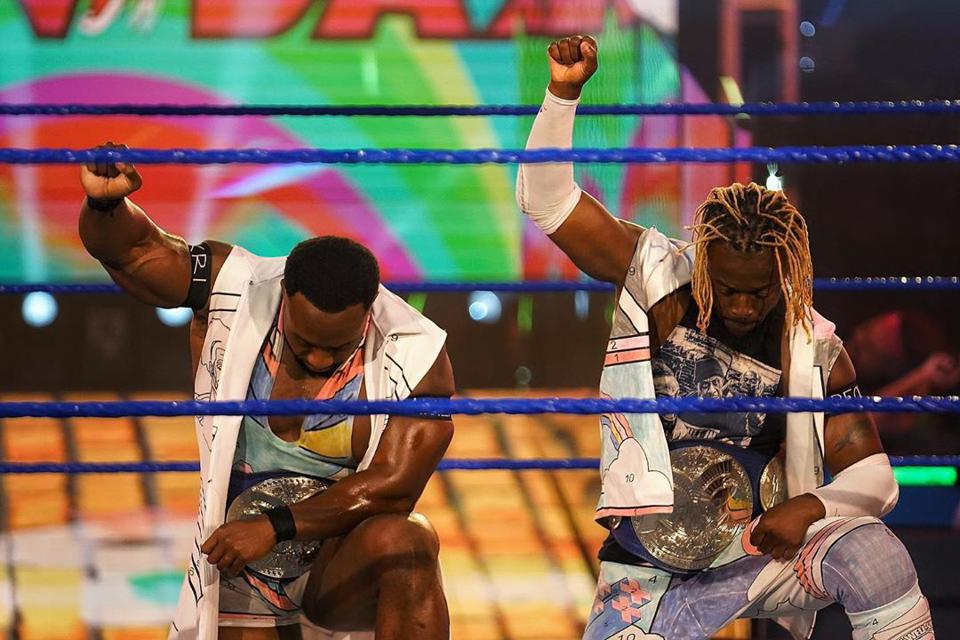 The New Day took a knee ahead of their match on WWE Friday Night SmackDown.