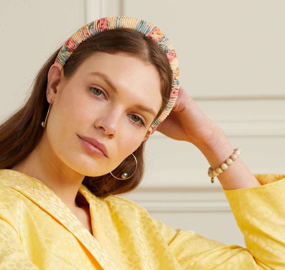Marina ruched floral-print satin headband by Loeffler Randall
