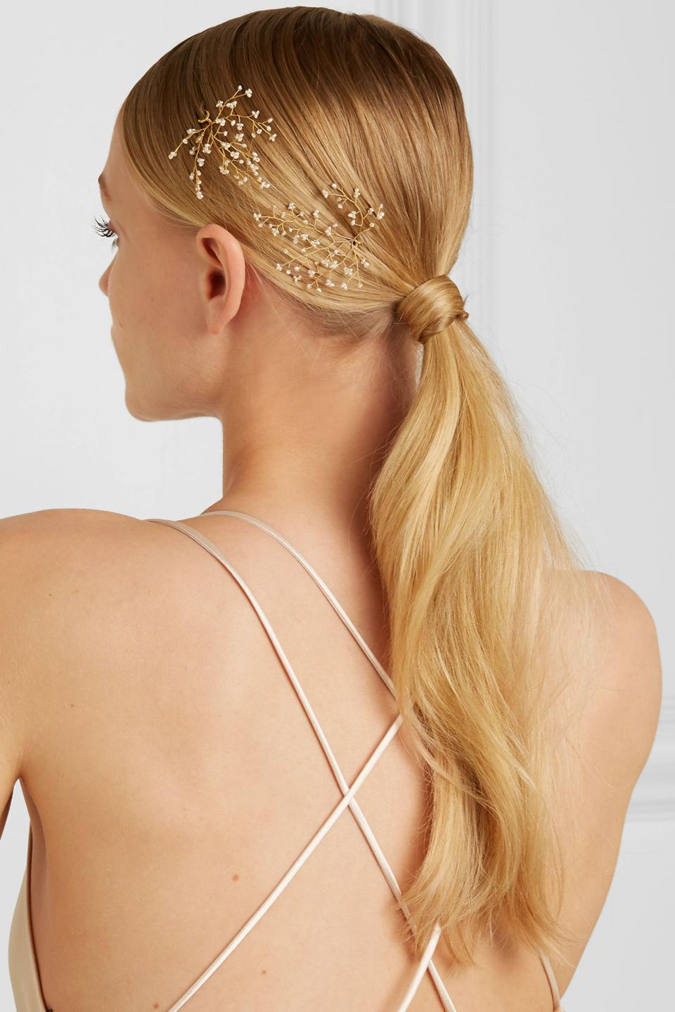 Baby's Breath set of two gold-tone pearl hair pins by 14 / QUATORZE