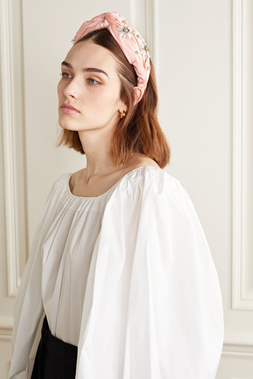 Nereid knotted embellished satin headband by MaryJane Claverol
