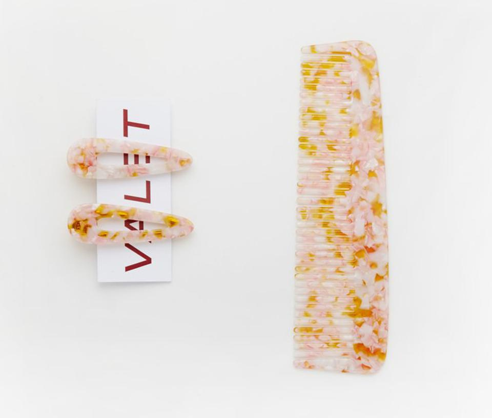 Willa Comb and Kelly Clip Set Peach Marble by Valet