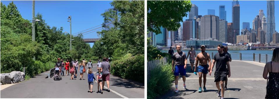 Walking along the paths of Brooklyn Bridge Park