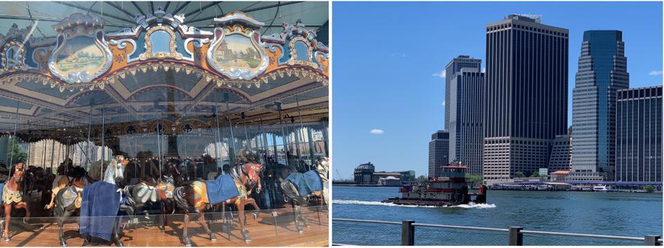 Restored carousel and tugboat from Brooklyn Bridge Park