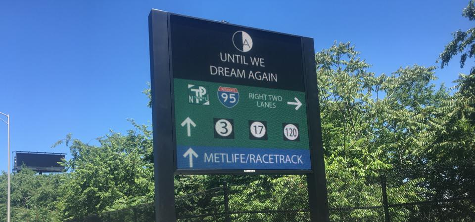 A traffic sign at the American Dream entertainment and retail complex with the words ″Until We Dream Again.″