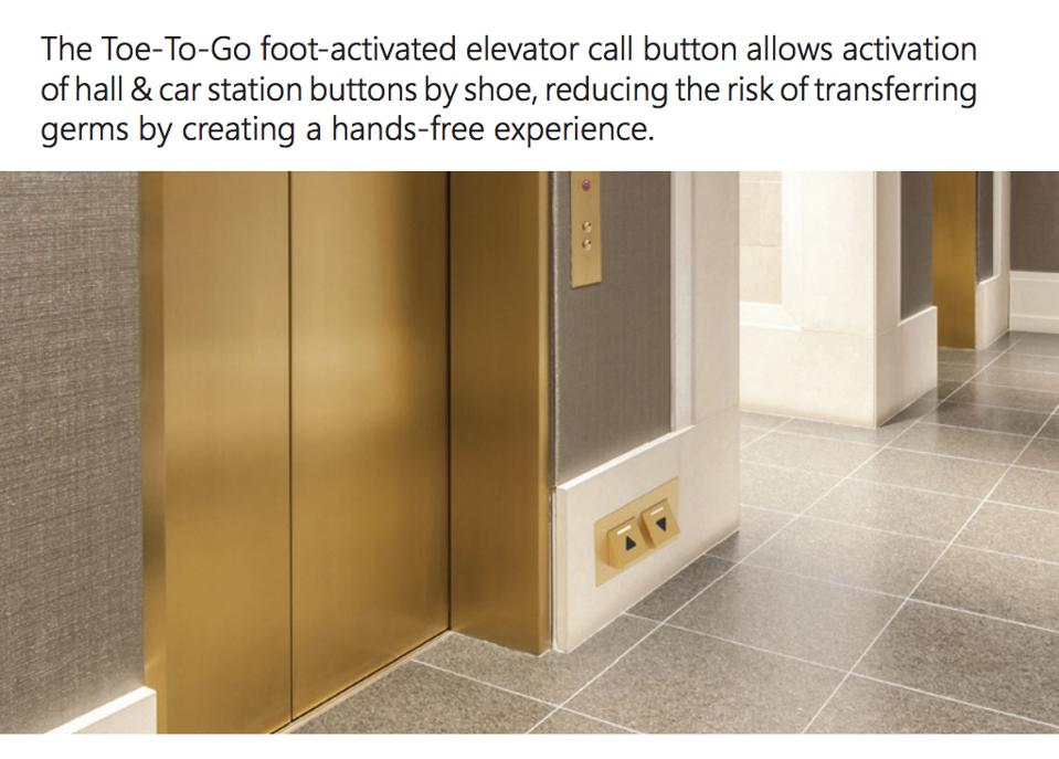 The Toe-To-Go foot-activated elevator is hands-free.