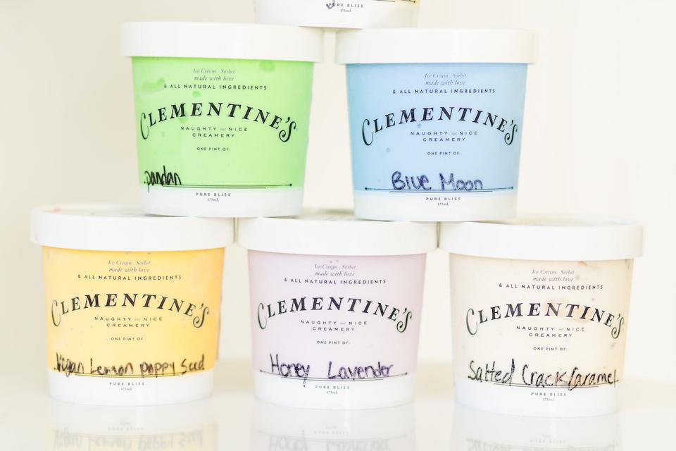 Clementine'€™s Naughty & Nice Creamery summer flavors – panda, blue moon, lemon poppy seed, honey lavender and salted crack caramel