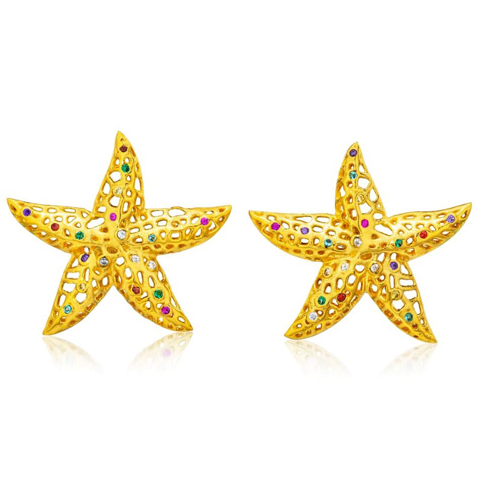 Starfish earrings with semi precious stones by ARTISANS OF Q
