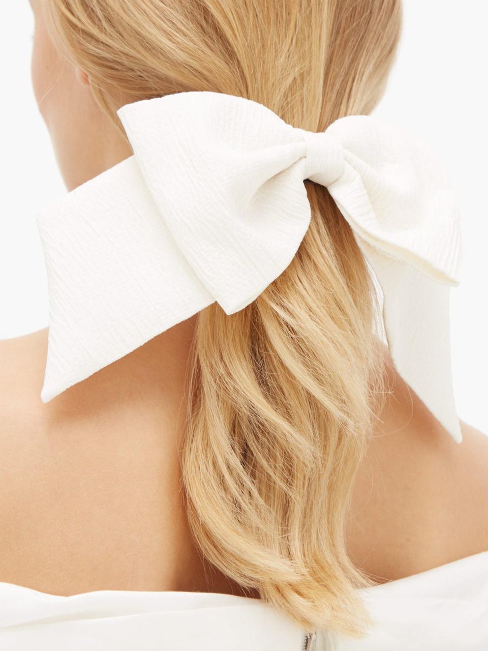 Knightsbridge bow crepe-cloqué hair clip by Emilia Wickstead