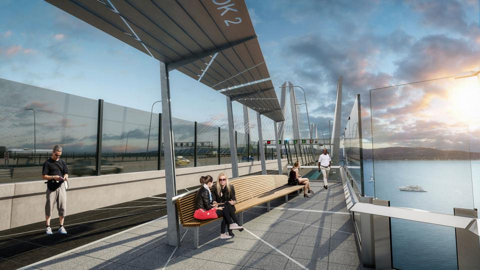 Artist's rendering of ″Half Moon,″ the fifth of six overlooks traveling from north to south over the bridge.