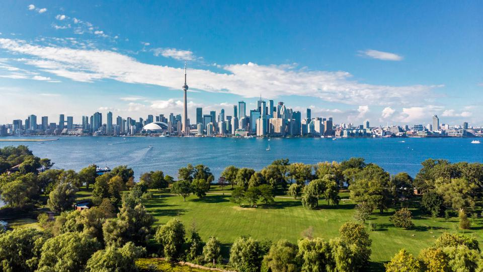 Toronto, Canada, Aerial View of Toronto Skyline and Lake Ontario