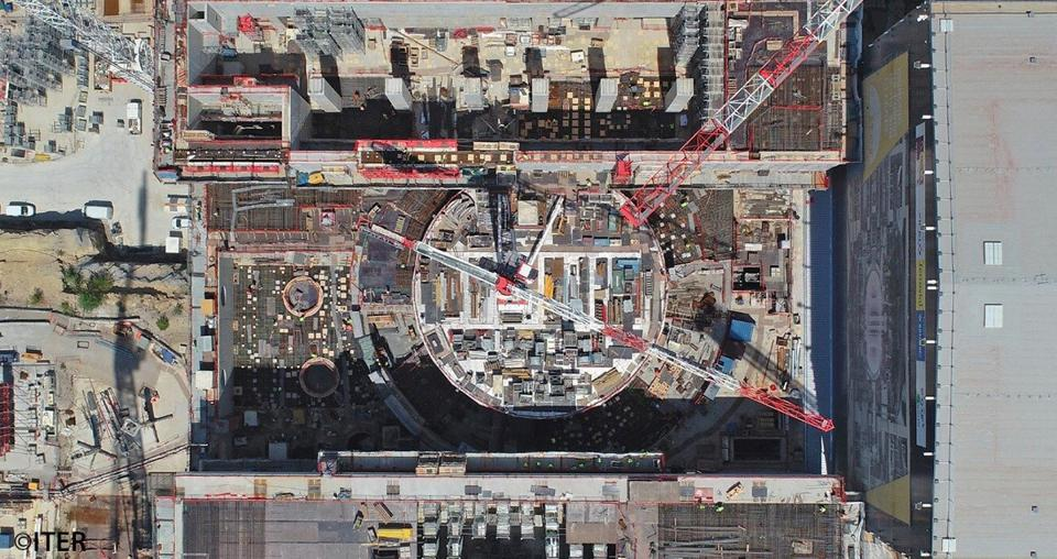 An aerial view of ITER's massive tokamak complex.