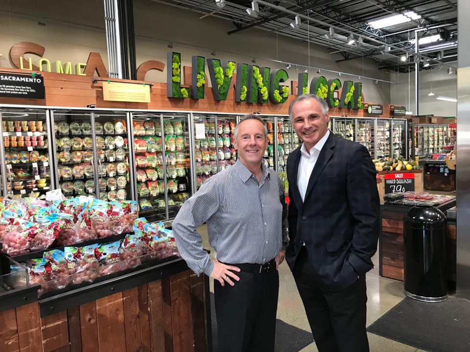 Raley's owner Mike Teel with Keith Knopf president & CEO inside a Raley's supermarket in Northern California