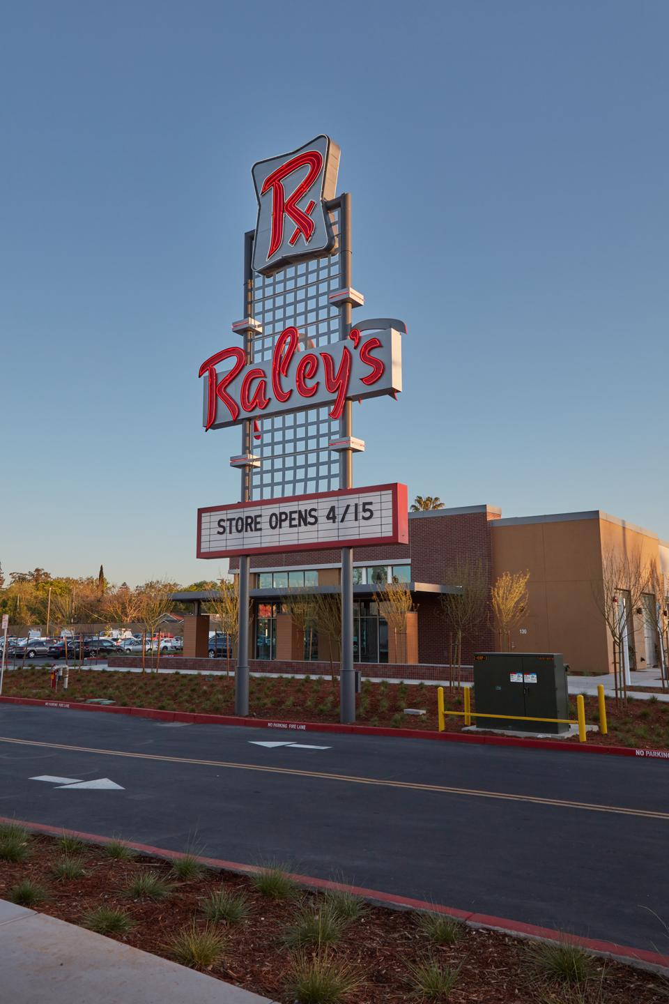 The iconic 1958 Raley's iconic sign now sits in front of the new Land Park supermarket