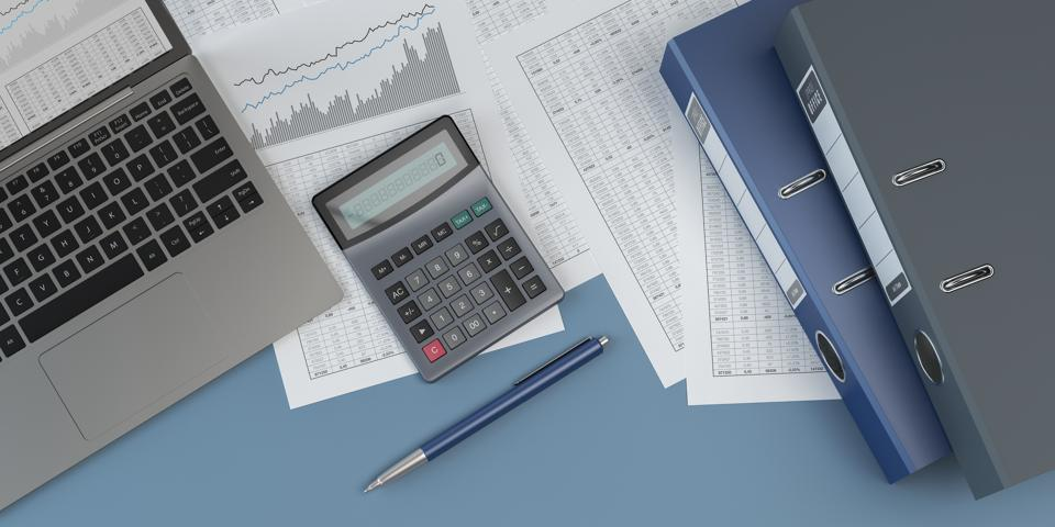 Accounting, laptop, notebooks, blue background, charts