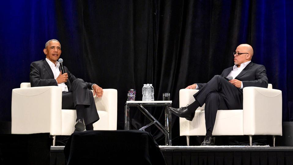 Dennis Kennedy and former President Barack Obama (2019).