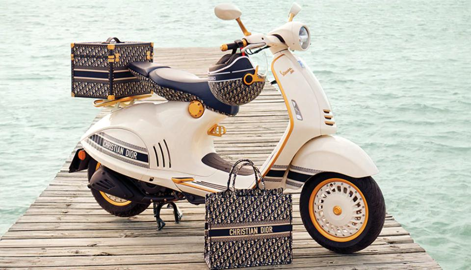 vespa, christian dior, collaboration, scooter, fashion, style, travel, design, motorbike