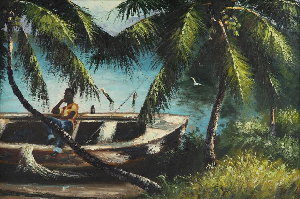 Harold Newton, ″Untitled (Man Relaxing on a Beached Boat.″ Oil on board, 23 1/4 x 35 1/4 inches.