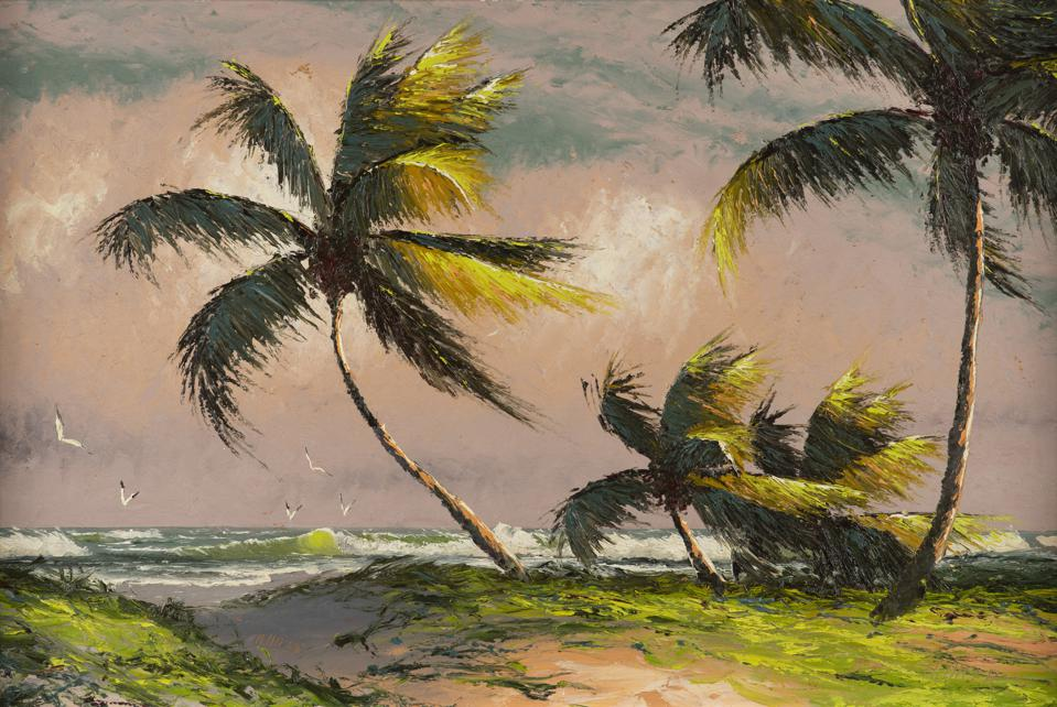Alfred Hair, ″Untitled (Beach Scene with Palms.″ Oil on board, 24 x 36 inches.
