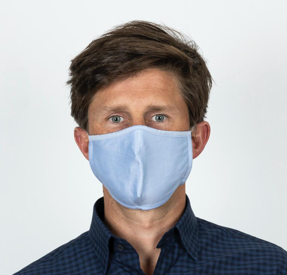 The Trio 3-Layer Antibacterial Cotton Mask available in Mixed Blue 3-Pack and Mixed Chambray 3-Pack