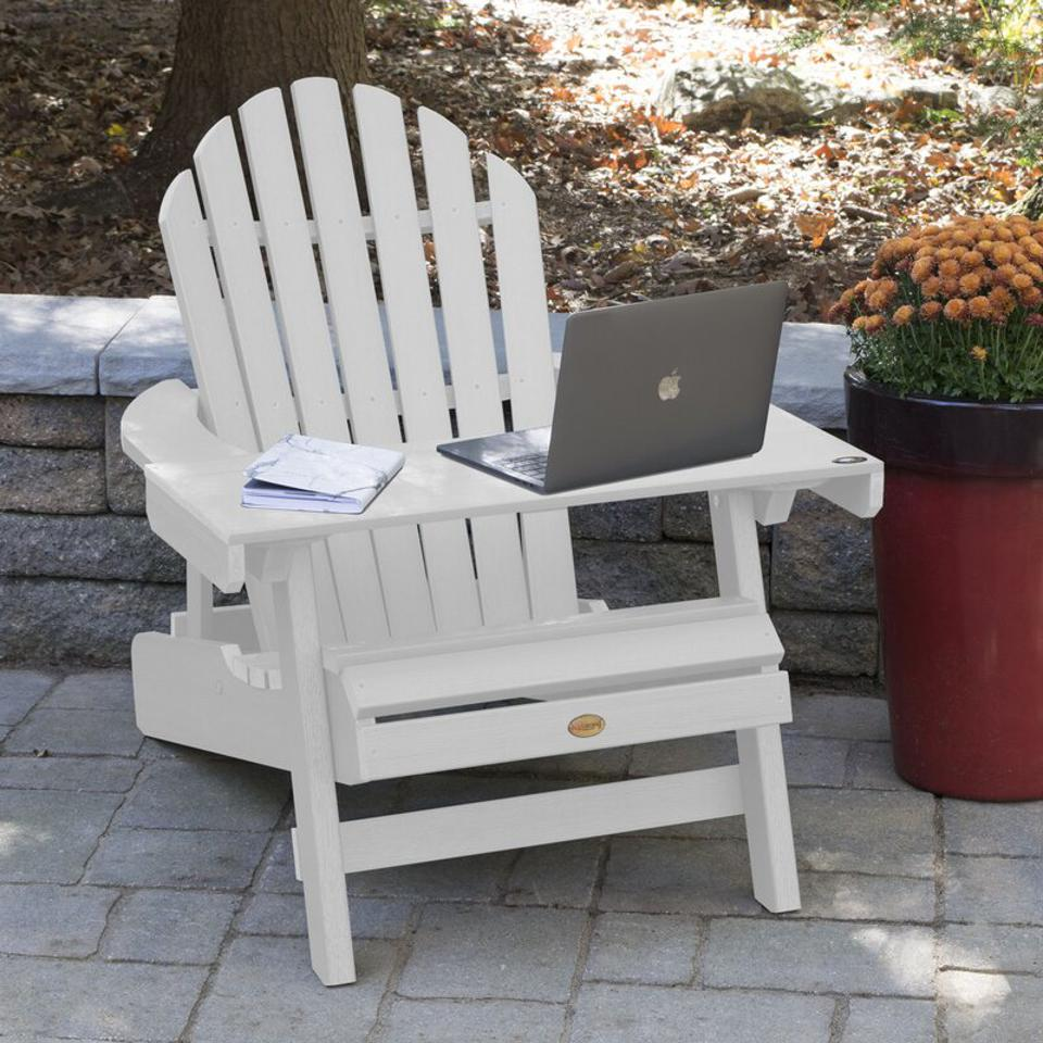 Longshore Tides Camacho Plastic Folding Adirondack Chair with Table