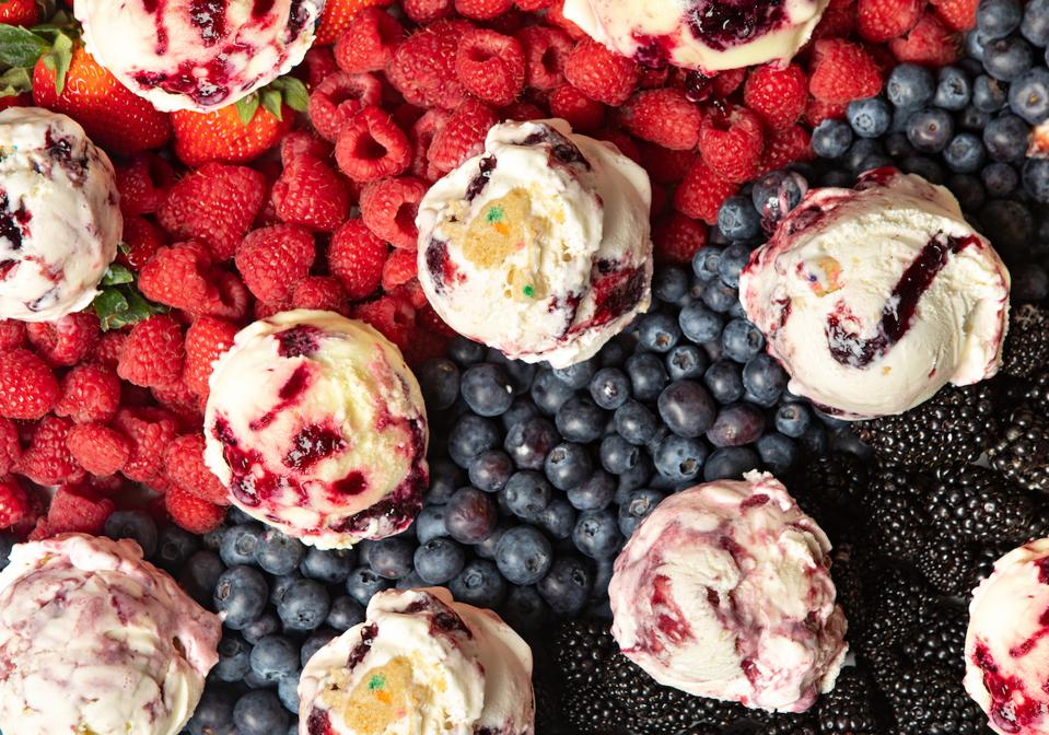 Scoops of Salt + Straw July berry ice cream flavors