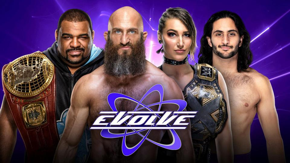 WWE.com graphic from February 2020 promoting Evolve's last shows to date.