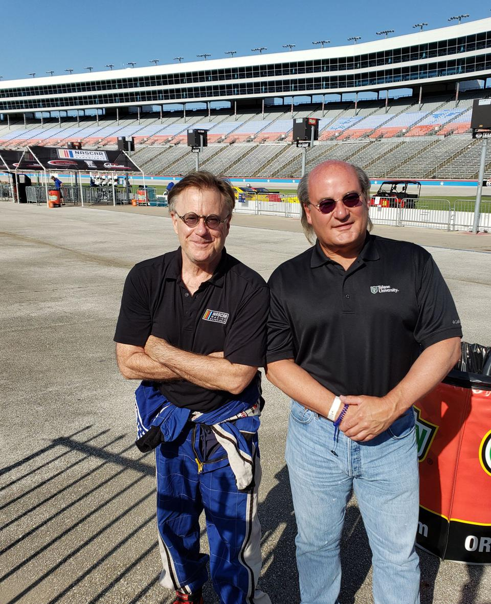 Writer Jim Clash and his ride-along passenger, Mark Province, at Texas Motor Speedway.