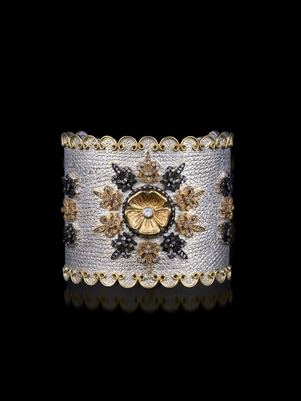 Limited edition mixed metal Stella Flame cuff bracelet