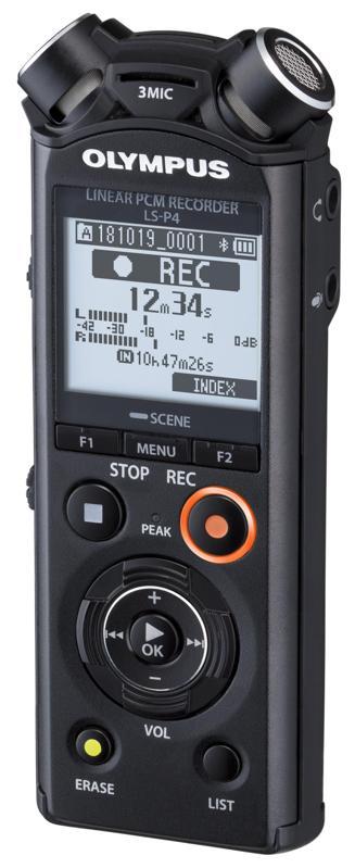 Three-quarter view of Olympus LS-4 voice recorder