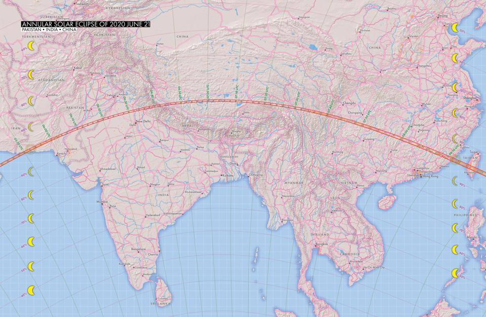 The path of the annular solar eclipse through Asia on June 21, 2020.