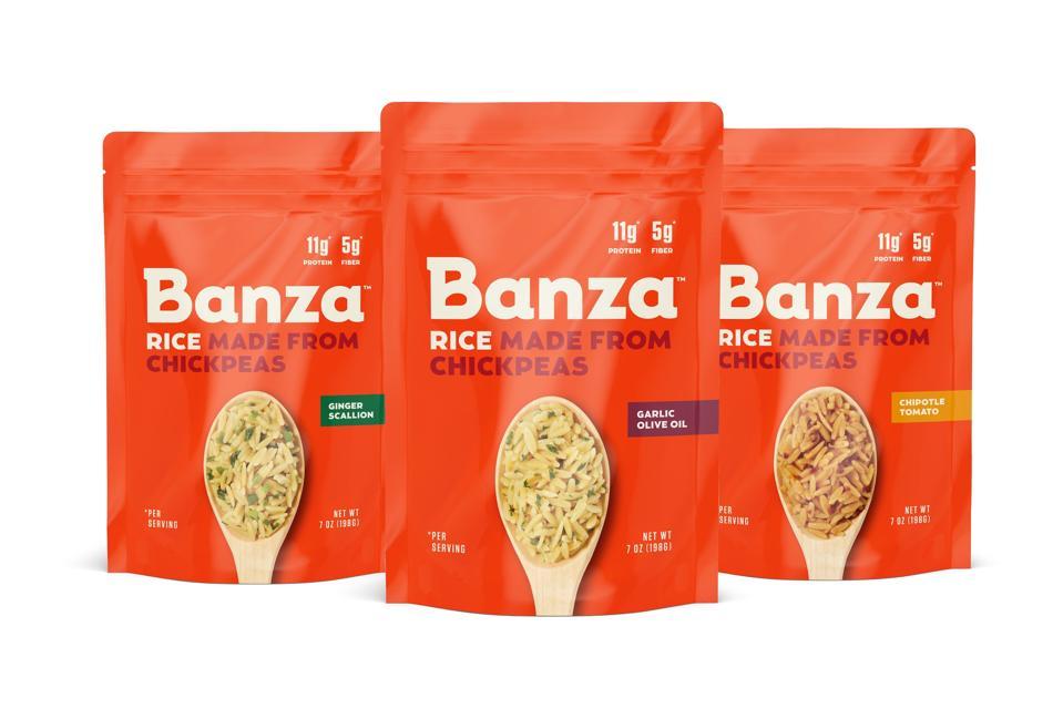 Banza flavored chickpea based rices Ginger Scallion, Chipotle Tomato Garlic Olive Oil rice