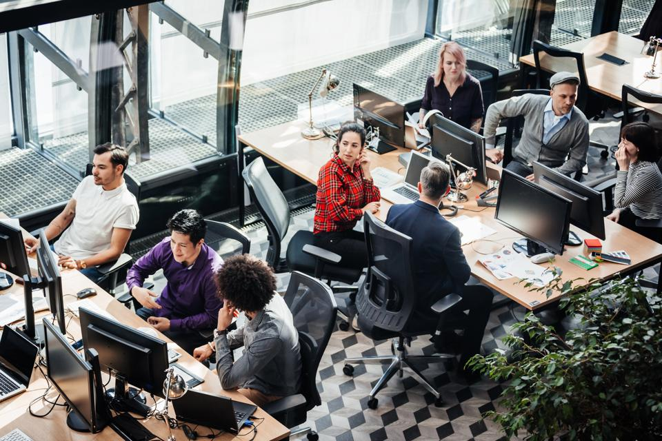 Aerial View Of Modern Office Environment