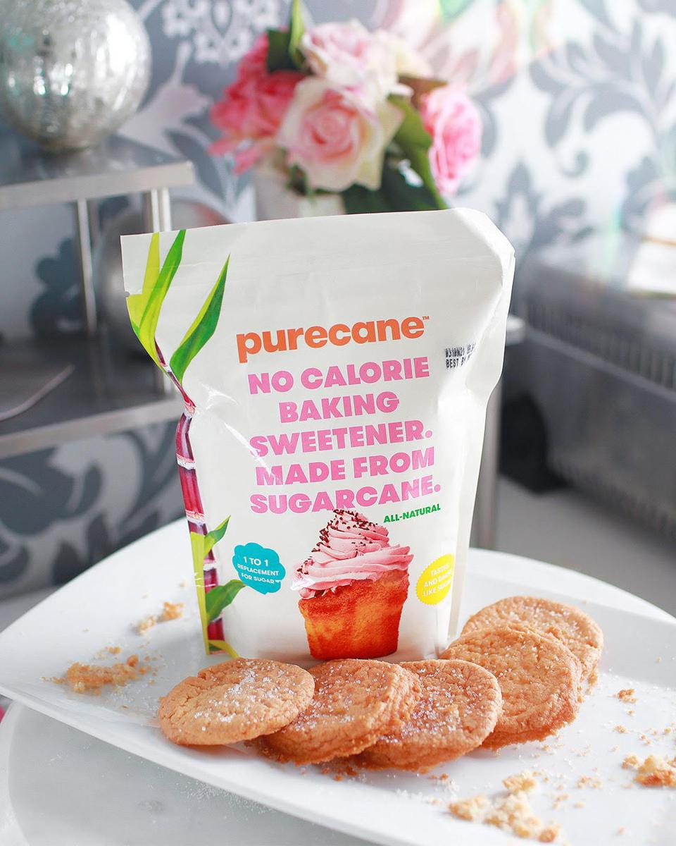 A package of Purecane sugar substitute with cookies.