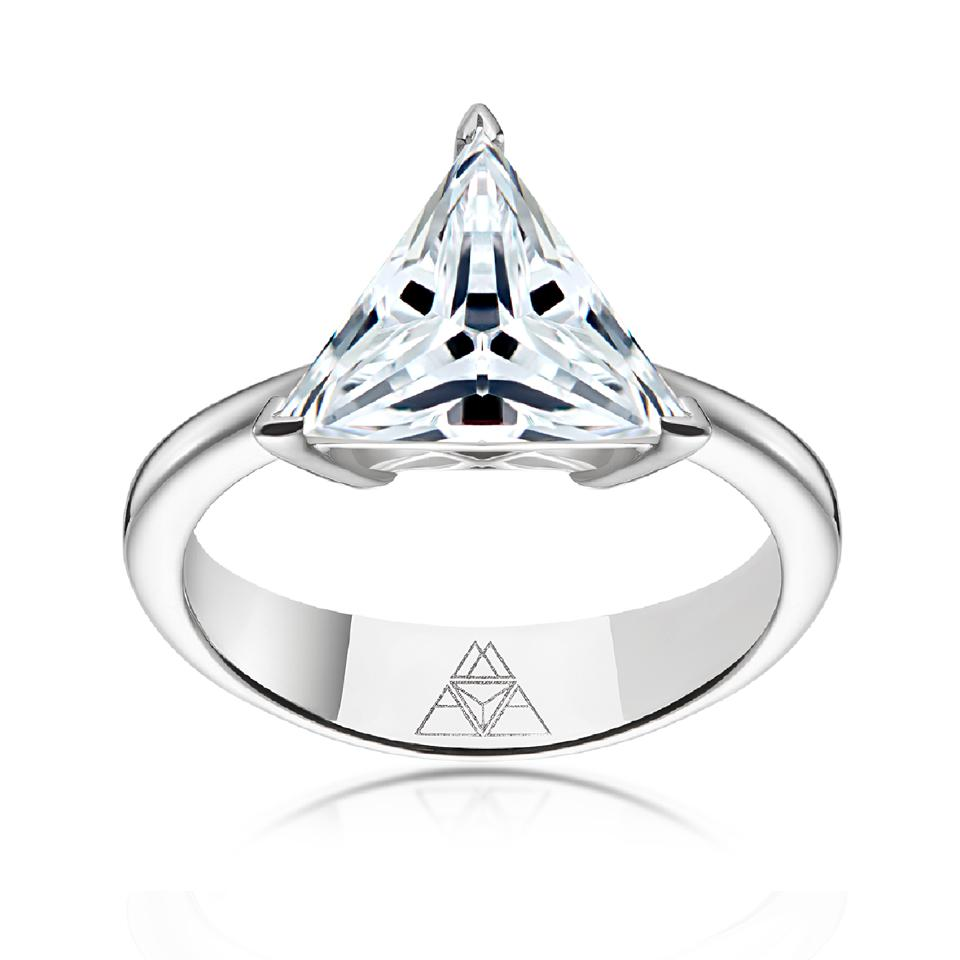 An engagement ring with a Maya cut diamond solitaire.