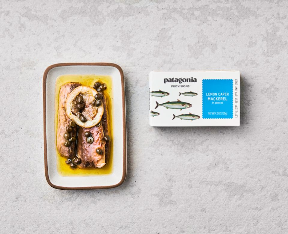 Can of Patagonia Provisions Mackerel, lemon caper flavor opened up