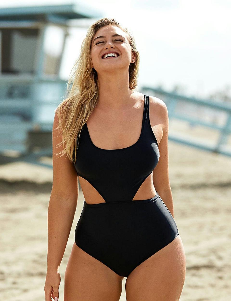 Woman wearing Aerie one-piece swimsuit