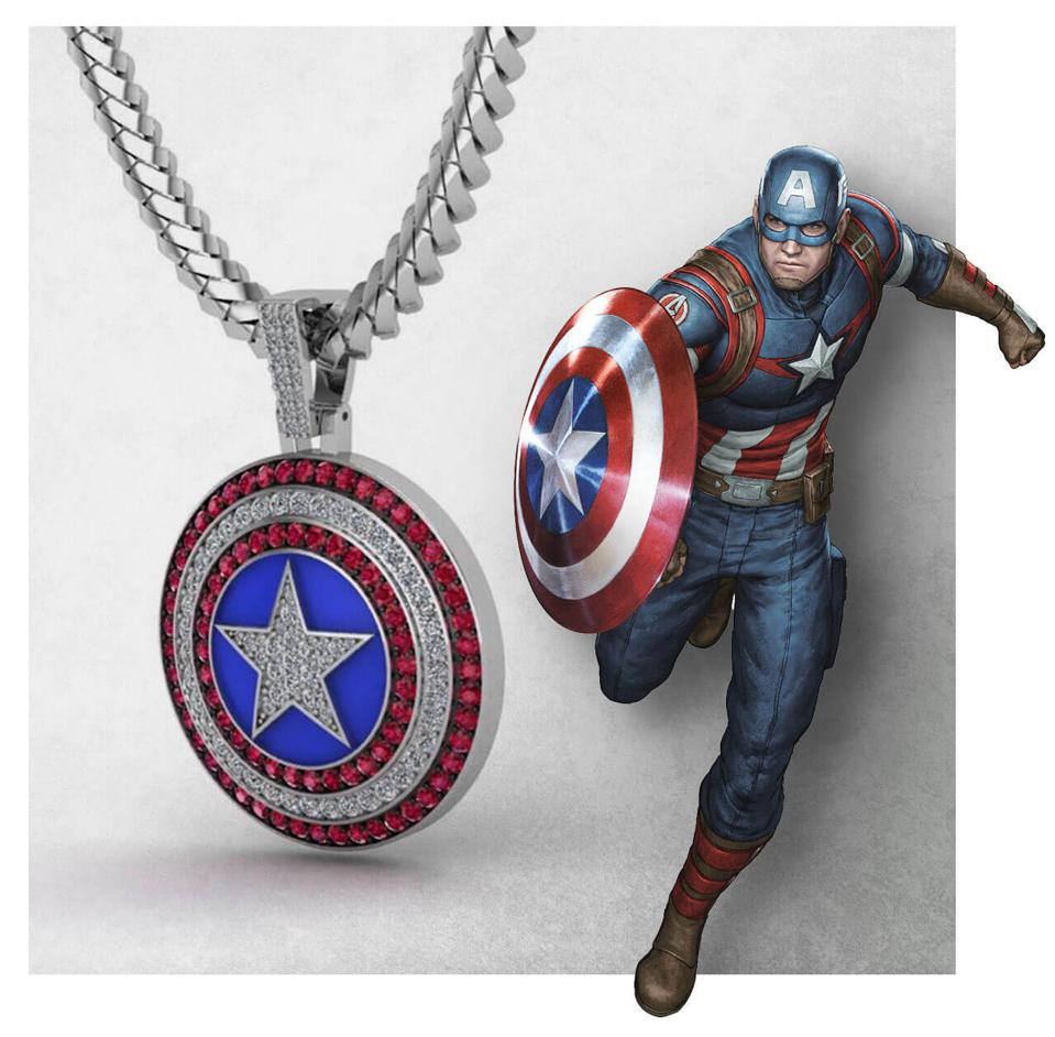 Captain America, one of many Marvel superheroes that will appear in the GLD x Marvel collection.