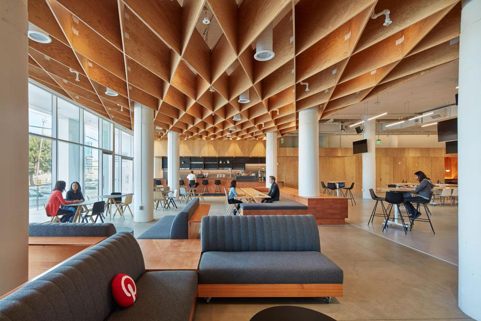 An open space with employees working in a Pinterest office.