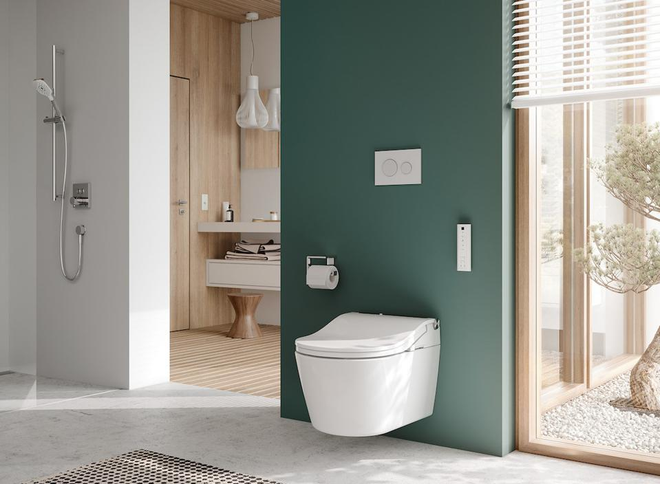 Wall-hung bidet-style toilet has auto-opening and flushing systems