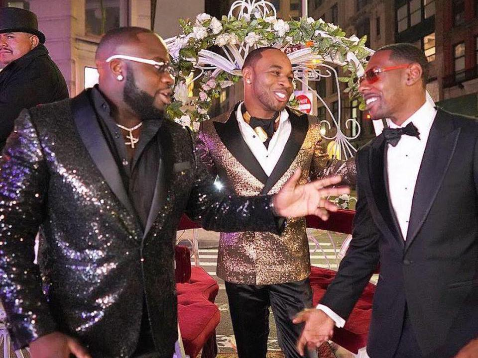 Obaseki, Medford and Whitehead greet each other in black tie attire.